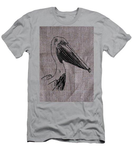 Pelican On Burlap Men's T-Shirt (Athletic Fit)