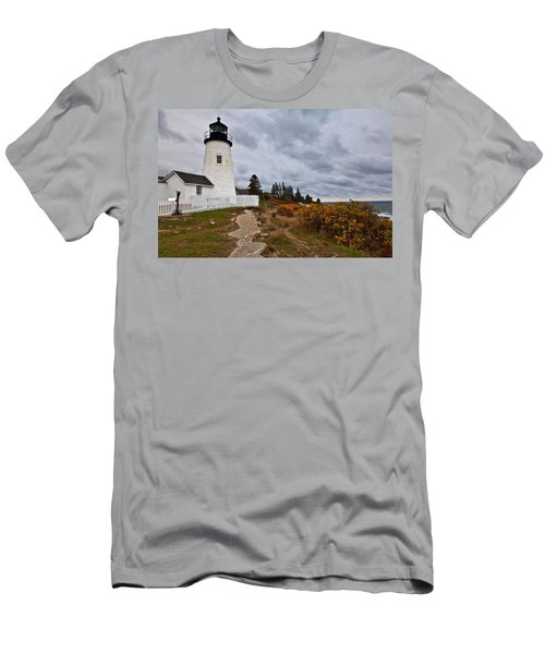 Stormy Autumn Day At Pemaquid Point Lighthouse Men's T-Shirt (Slim Fit)