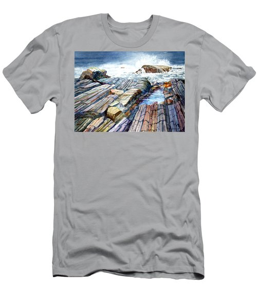 Men's T-Shirt (Slim Fit) featuring the painting Pemaquid Rocks by Roger Rockefeller