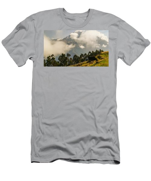 Peru Mountains With Cow Men's T-Shirt (Athletic Fit)