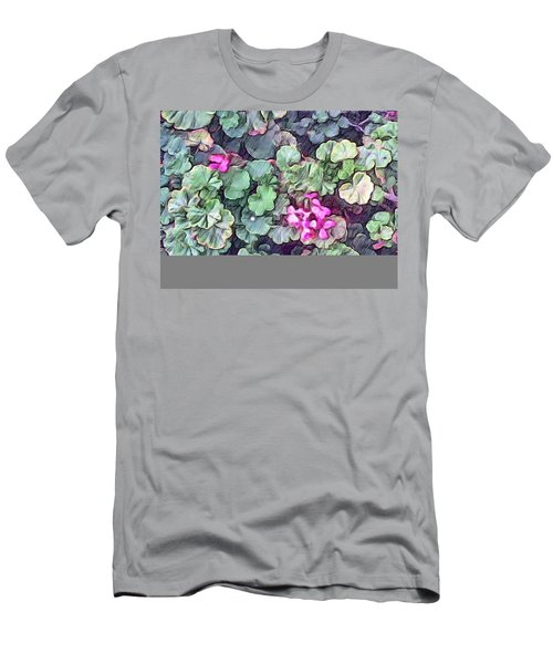 Pink Flowers Painting Men's T-Shirt (Athletic Fit)