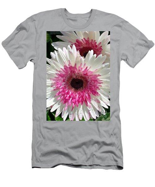 Pink N White Gerber Daisy Men's T-Shirt (Slim Fit) by Sami Martin