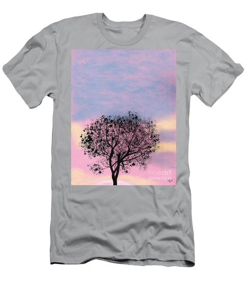 Men's T-Shirt (Slim Fit) featuring the drawing Pink Sunset by D Hackett