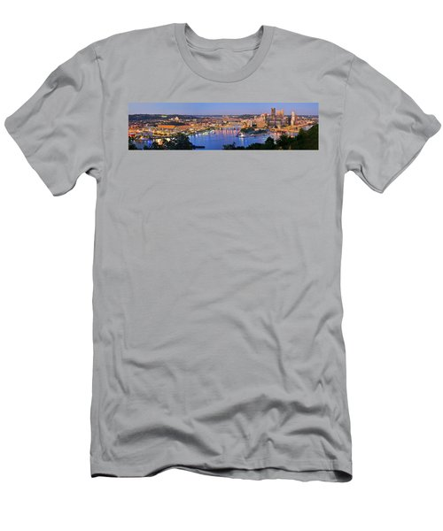 Pittsburgh Pennsylvania Skyline At Dusk Sunset Extra Wide Panorama Men's T-Shirt (Athletic Fit)