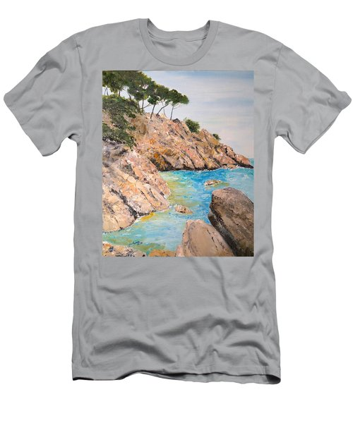 Men's T-Shirt (Slim Fit) featuring the painting Playa De Aro by Marilyn Zalatan