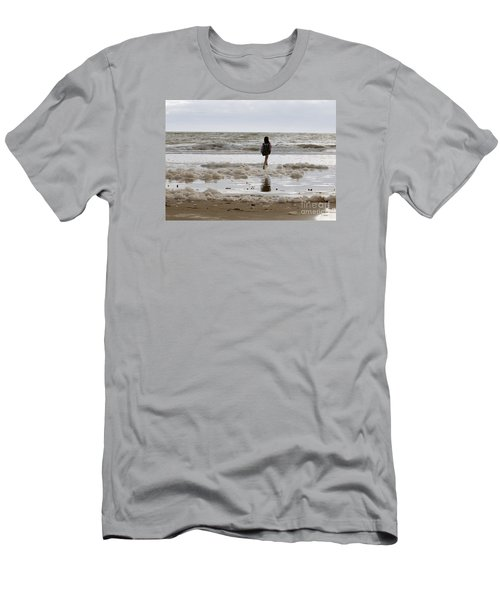 Men's T-Shirt (Slim Fit) featuring the photograph Girl Playing In Sea Foam by Haleh Mahbod