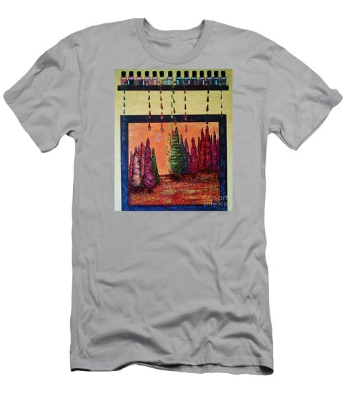 Men's T-Shirt (Slim Fit) featuring the painting Polished Forest by Jasna Gopic