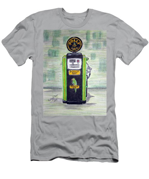Men's T-Shirt (Slim Fit) featuring the painting Polly Gas Pump by Kathy Marrs Chandler