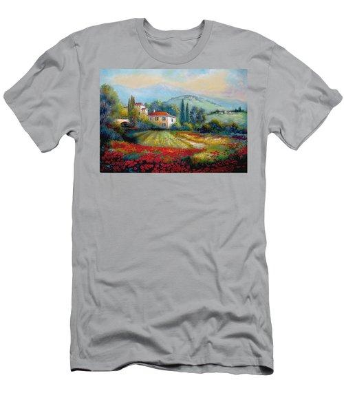 Poppy Fields Of Italy Men's T-Shirt (Athletic Fit)