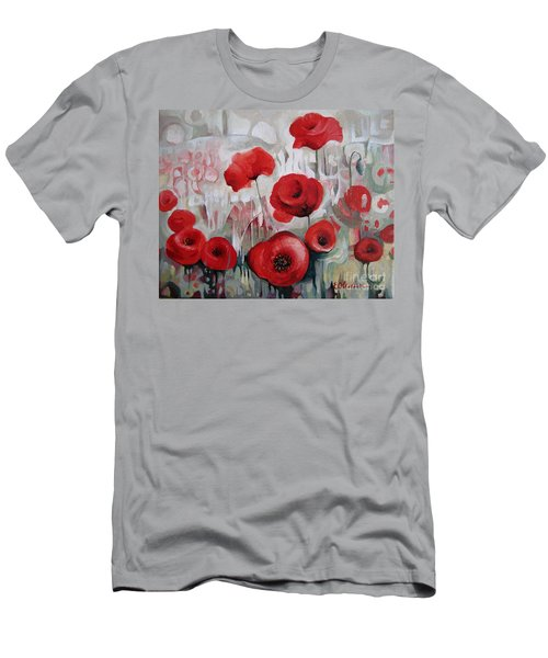 Men's T-Shirt (Slim Fit) featuring the painting Poppy Flowers by Elena Oleniuc