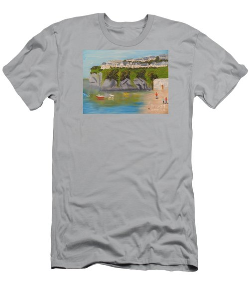 Men's T-Shirt (Slim Fit) featuring the painting Port Asaac Cornwell by Pamela  Meredith