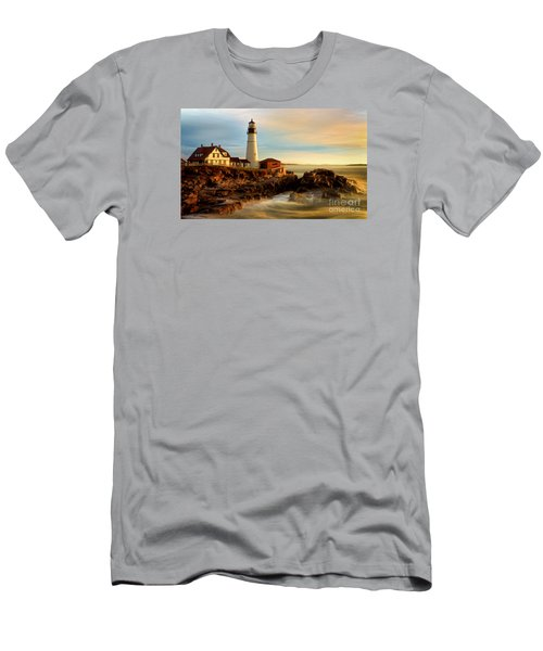 Portland Head Lighthouse At Dawn Men's T-Shirt (Slim Fit) by Jerry Fornarotto