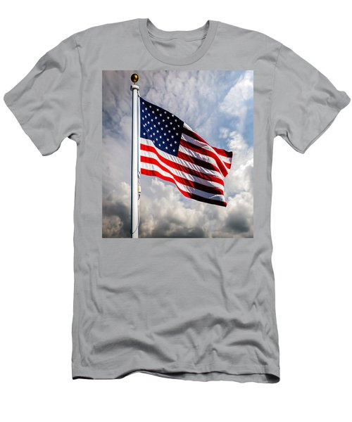 Men's T-Shirt (Athletic Fit) featuring the photograph Portrait Of The United States Of America Flag by Bob Orsillo