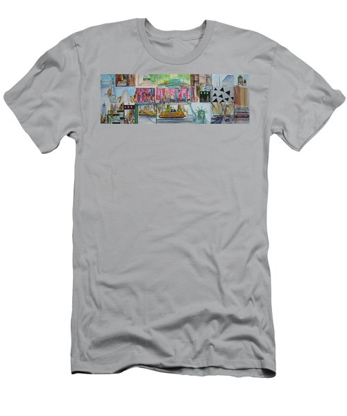 Postcards From New York City Men's T-Shirt (Slim Fit) by Jack Diamond