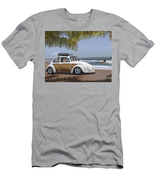 Postcards From Otis - Beach Corgis Men's T-Shirt (Slim Fit) by Mike McGlothlen