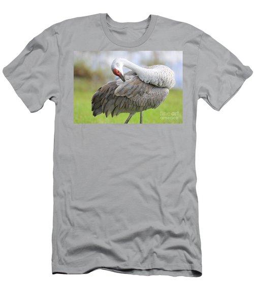 Preener Sandhill Crane Men's T-Shirt (Athletic Fit)