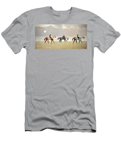 Princeteau's Riders On The Beach At Dieppe Men's T-Shirt (Athletic Fit)