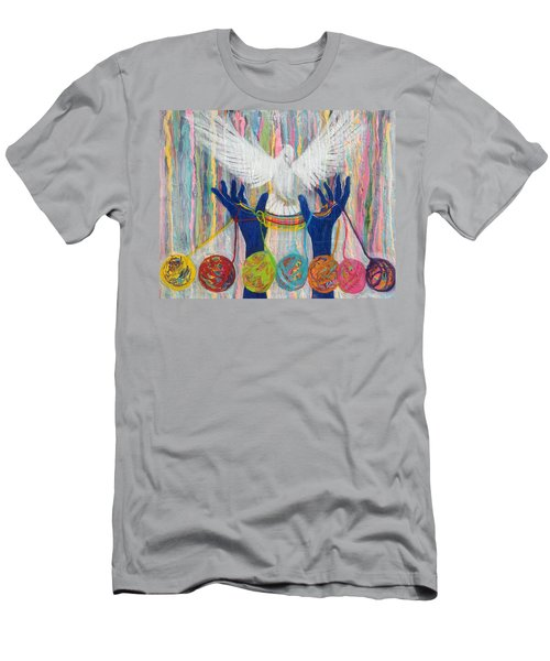 Prophetic Message Sketch 20 What Woman Will Rise Up    Yarn Hands Woven Nest Or Bridge For Dove  Men's T-Shirt (Athletic Fit)