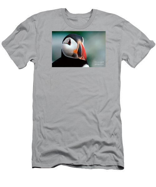 Men's T-Shirt (Slim Fit) featuring the photograph Puffin Head Shot by Jerry Fornarotto