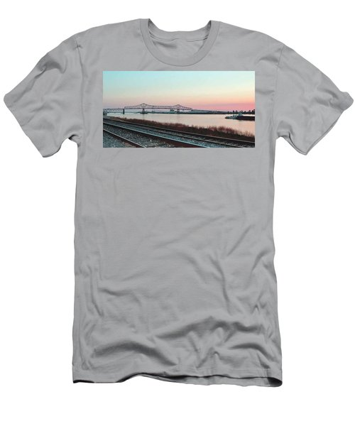 Men's T-Shirt (Slim Fit) featuring the photograph Rail Along Mississippi River by Charlotte Schafer