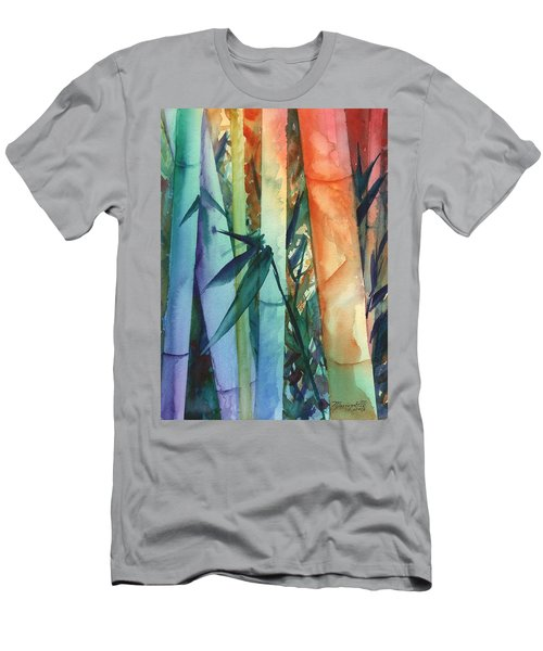 Men's T-Shirt (Slim Fit) featuring the painting Rainbow Bamboo 2 by Marionette Taboniar