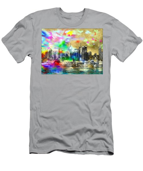 Rainbow Nyc Skyline Men's T-Shirt (Slim Fit) by Daniel Janda