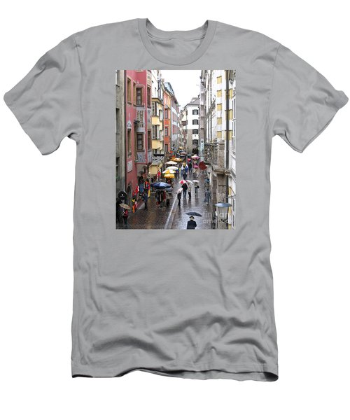 Men's T-Shirt (Slim Fit) featuring the photograph Rainy Day Shopping by Ann Horn