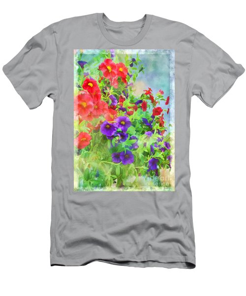 Red And Purple Calibrachoa - Digital Paint I Men's T-Shirt (Slim Fit) by Debbie Portwood