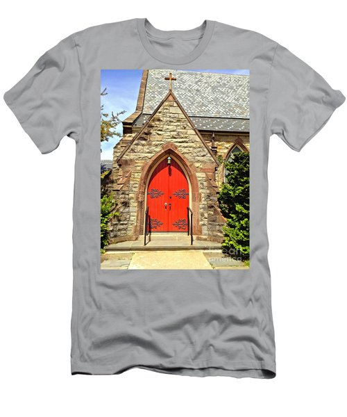 Men's T-Shirt (Slim Fit) featuring the photograph Red Arch Church Door 1 by Becky Lupe