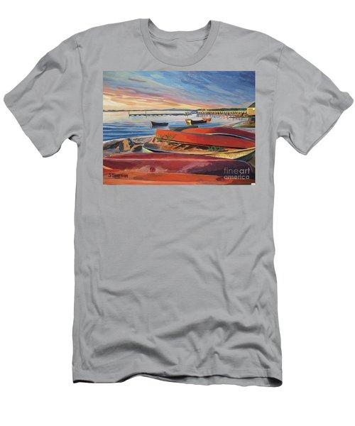 Red Canoe Sunset Men's T-Shirt (Athletic Fit)