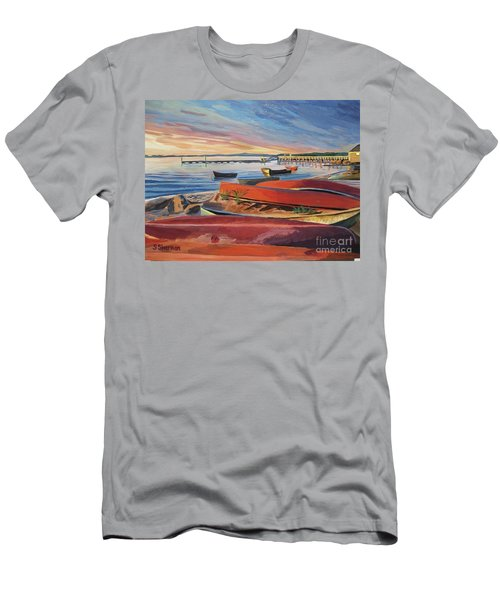 Red Canoe Sunset Men's T-Shirt (Athletic Fit)