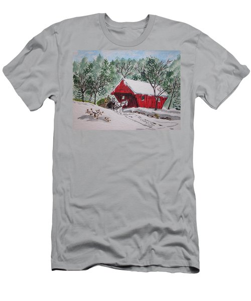 Red Covered Bridge Christmas Men's T-Shirt (Slim Fit) by Kathy Marrs Chandler