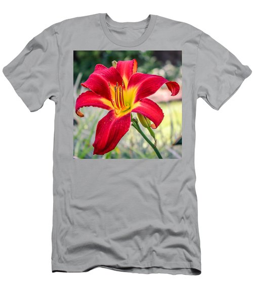 Men's T-Shirt (Slim Fit) featuring the photograph Red Daylily by Rob Sellers
