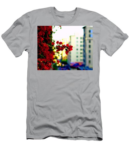 Men's T-Shirt (Slim Fit) featuring the photograph Red Flowers Downtown by Matt Harang