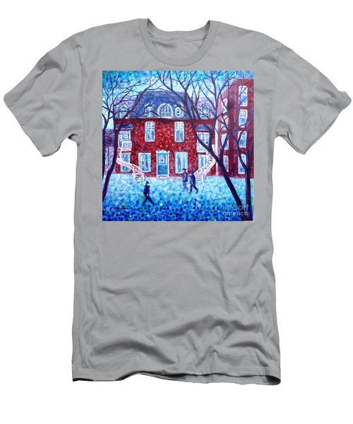 Red House In Montreal - Cityscape Men's T-Shirt (Athletic Fit)
