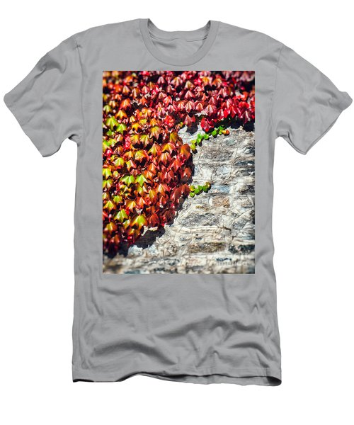 Men's T-Shirt (Slim Fit) featuring the photograph Red Ivy On Wall by Silvia Ganora
