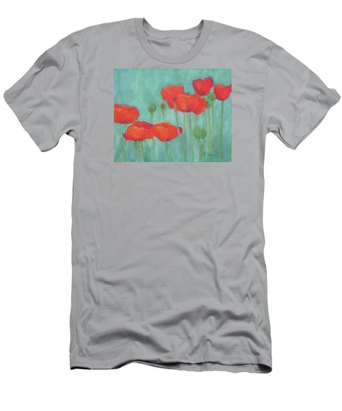 Red Poppies Colorful Poppy Flowers Original Art Floral Garden  Men's T-Shirt (Athletic Fit)
