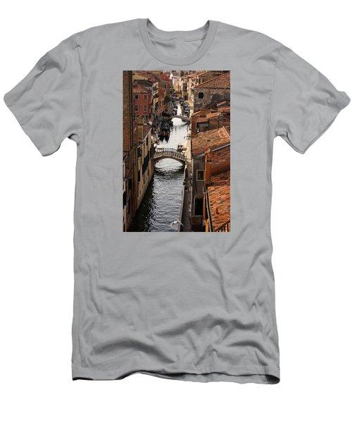 Red Roofs Of Venice Men's T-Shirt (Slim Fit) by Georgia Mizuleva