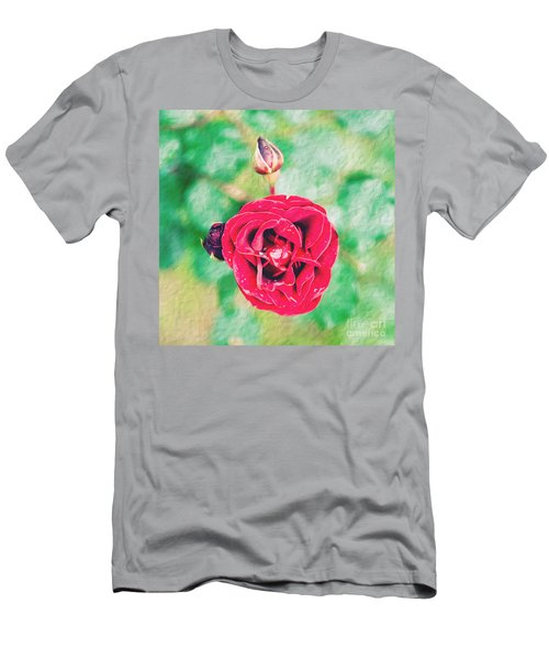 Men's T-Shirt (Slim Fit) featuring the photograph Red Rose by Yew Kwang