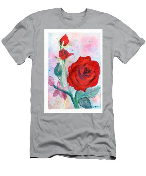 Red Roses Men's T-Shirt (Slim Fit) by C Sitton