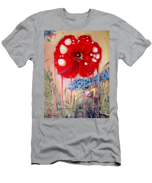 Men's T-Shirt (Slim Fit) featuring the painting Red Weed Red Poppy by Daniel Janda
