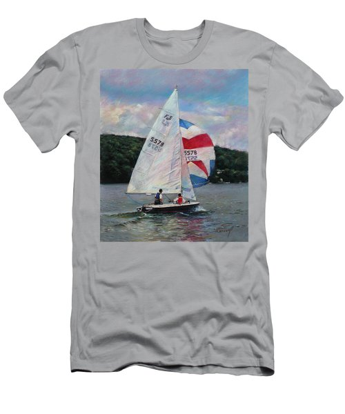 Men's T-Shirt (Slim Fit) featuring the drawing Red White And Blue Sailboat by Viola El