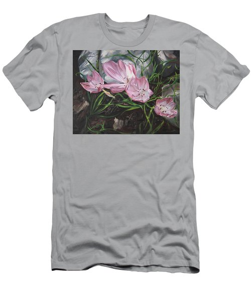 Men's T-Shirt (Slim Fit) featuring the painting Resurrection Lilies by Jane Autry