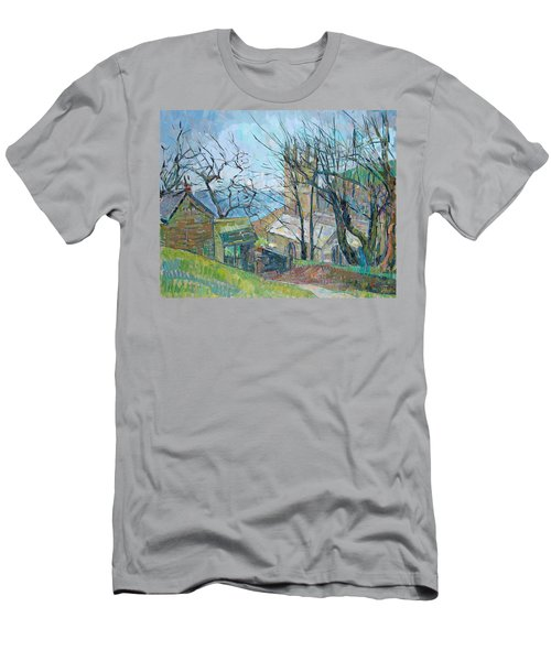 Reverend Hawkers Church At Morwenstow Oil On Canvas Men's T-Shirt (Athletic Fit)