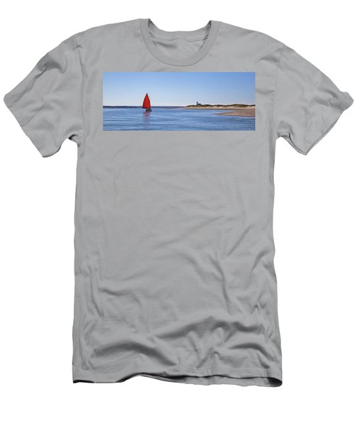 Ripple Catboat With Red Sail And Lighthouse Men's T-Shirt (Athletic Fit)