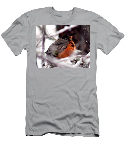 Men's T-Shirt (Slim Fit) featuring the photograph Robins' Patience by Lesa Fine