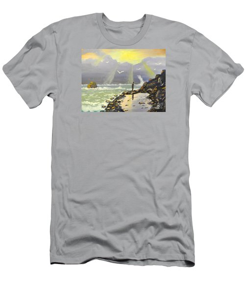Men's T-Shirt (Slim Fit) featuring the painting Rock Fishing At Wombarra  by Pamela  Meredith