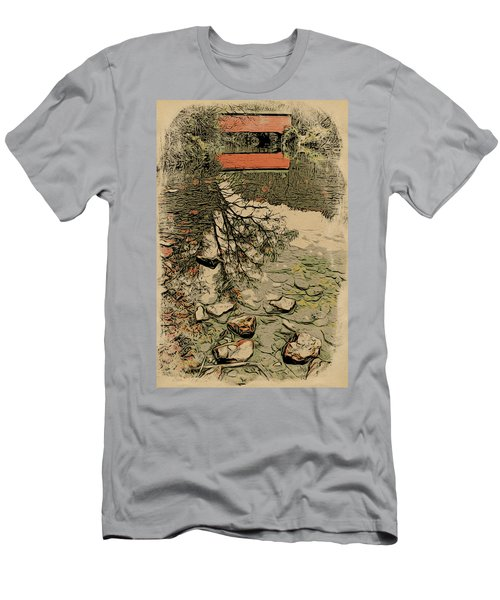 Rocks Water And A Red Bridge  Men's T-Shirt (Athletic Fit)