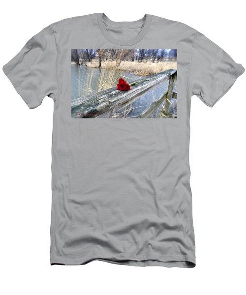 Men's T-Shirt (Slim Fit) featuring the photograph Rose On A Bridge by Verana Stark