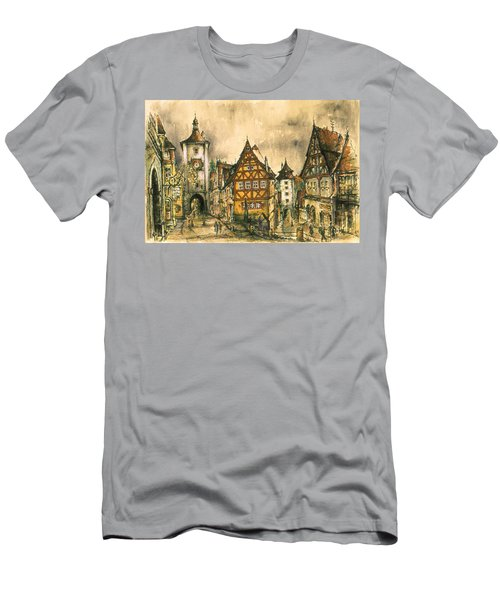 Rothenburg Bavaria Germany - Romantic Watercolor Men's T-Shirt (Athletic Fit)